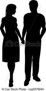 Siluetas de un hombre y una mujer