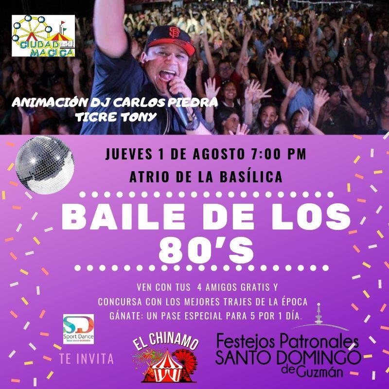 Afiche Baile Retro de los 80's